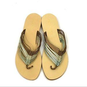 Nine West Metallic Strappy Thong Sandals Size 7